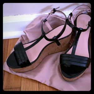 KATE SPADE Black Patent Leather Wedges Size 7.5
